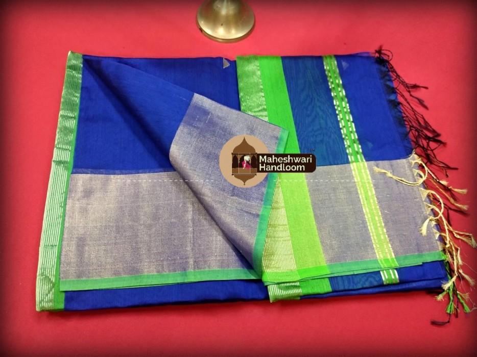 Maheshwari Royal Blue Triangle Buti - Motifs Saree