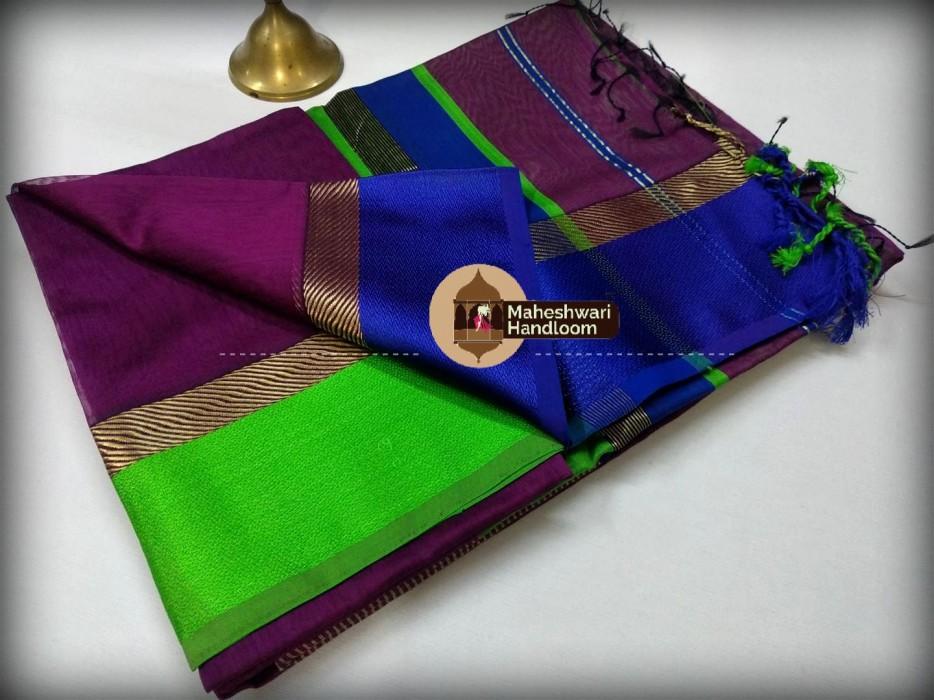 Maheshwari Magenta Ganga Jamuna saree