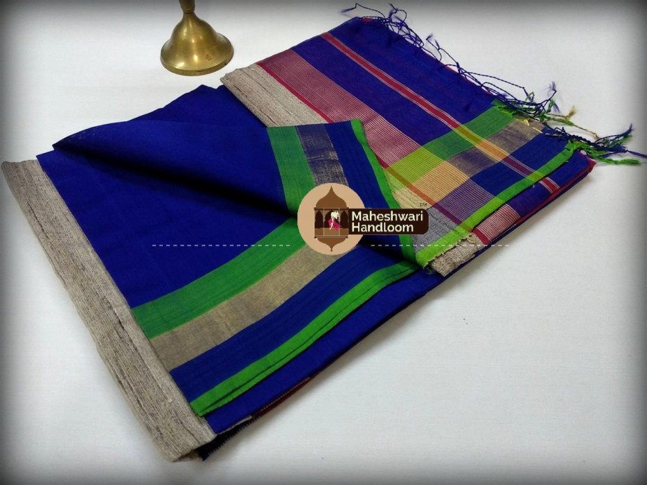 Handwoven Maheshwari Kosa Pallu Blue Saree