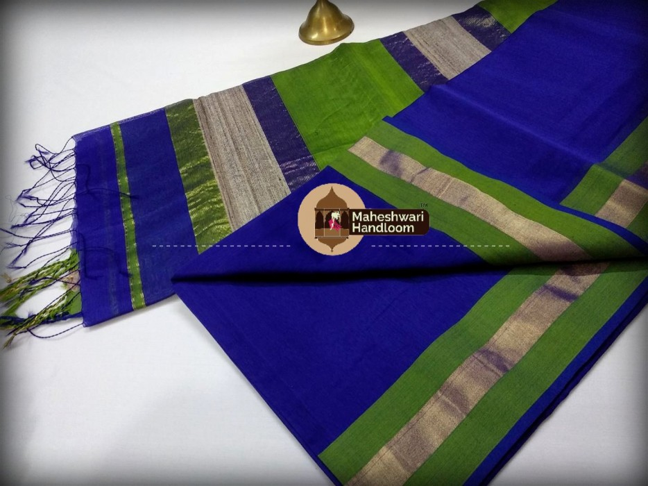 Handwoven Maheshwari Kosa Pallu Royal Blue Saree