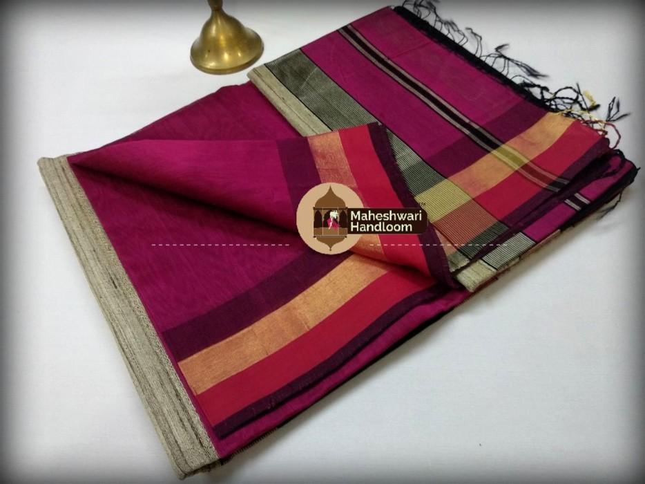 Handwoven Maheshwari Kosa Pallu Rani Saree