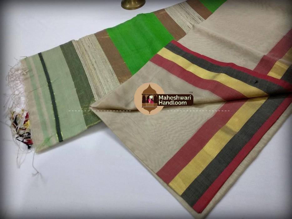 Handwoven Maheshwari Kosa Pallu Tussar Saree