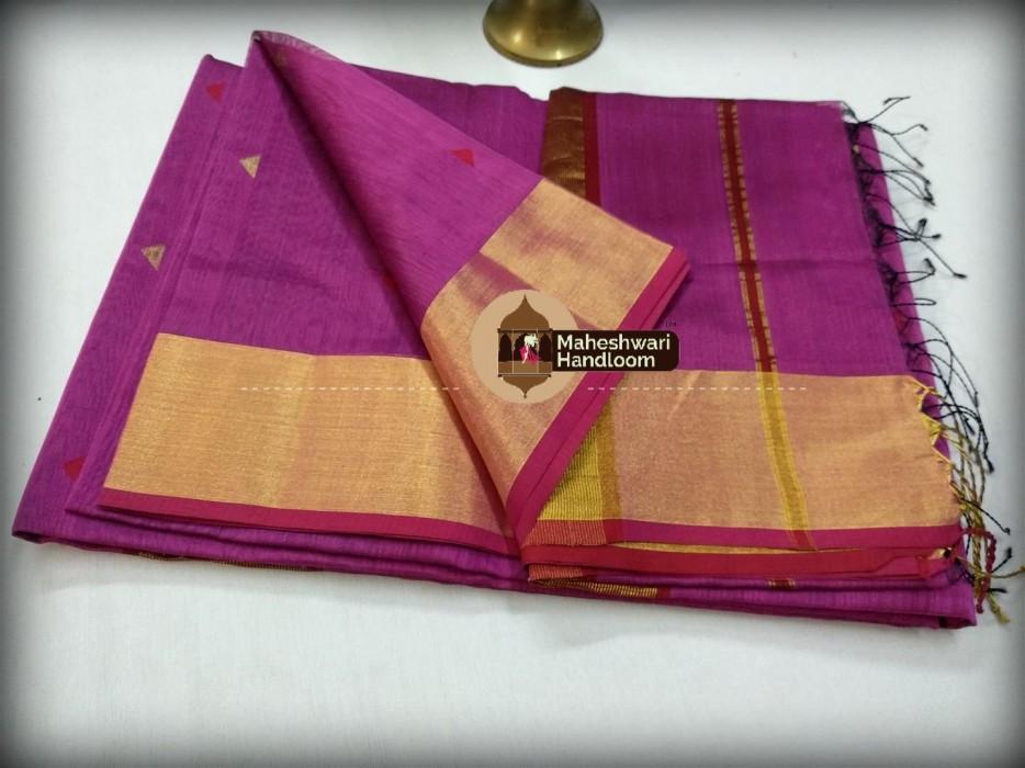 Maheshwari Dark Pink  Triangle Buti - Motifs Saree