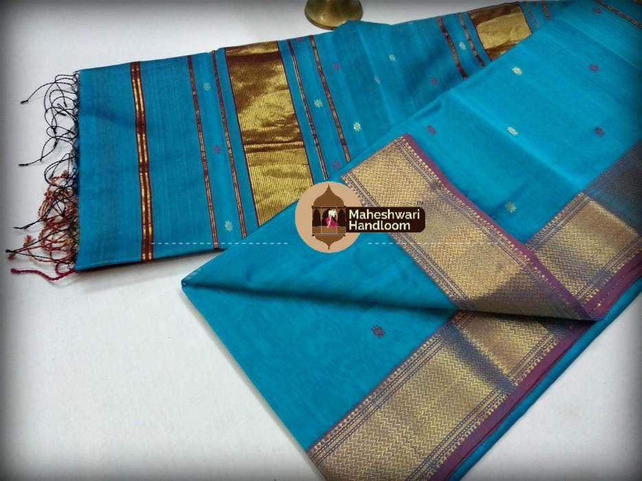 Maheshwari Star Command Blue Triangle Buti - Motifs Saree