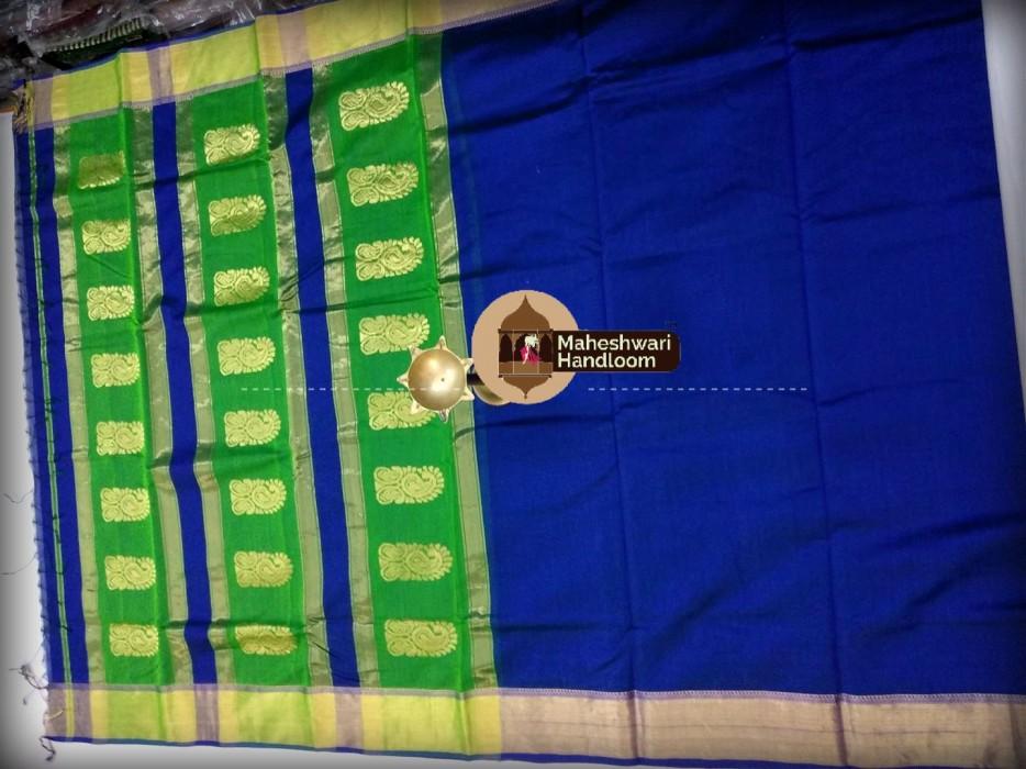 Maheshwari Navy Blue  Buta Pallu Saree