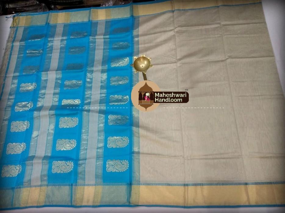 Maheshwari Tusser  Buta Pallu Saree