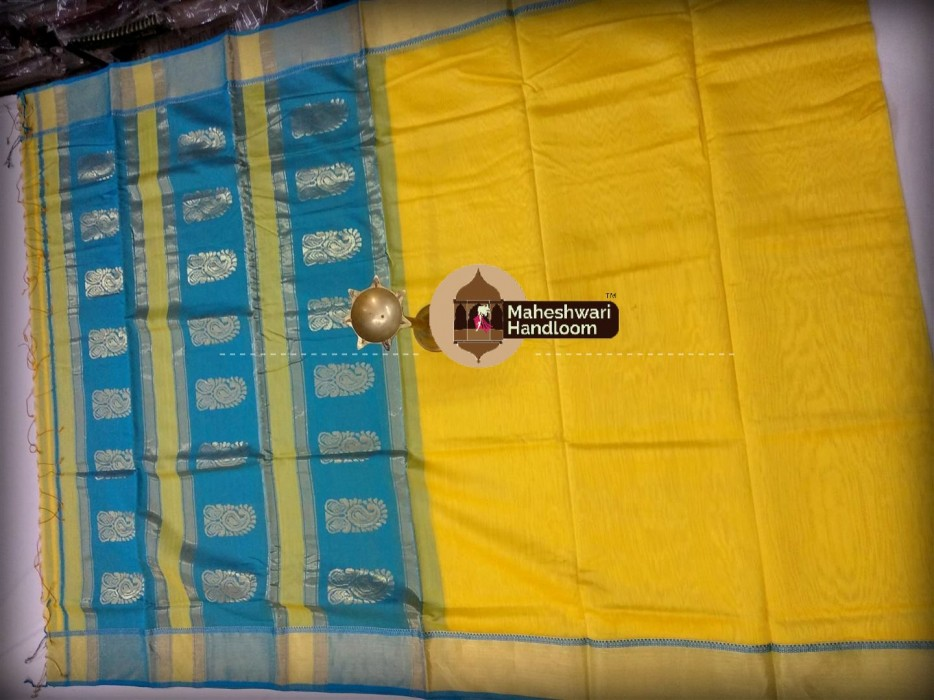 Maheshwari Yellow Buta Pallu Saree