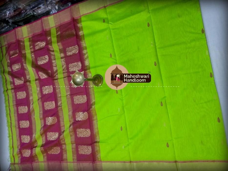 Maheshwari Parrot Green Buti Weaving Buta Pallu Saree