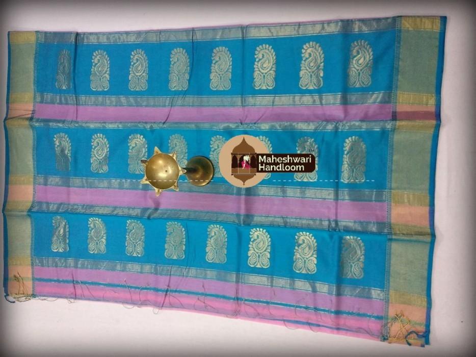 Maheshwari  Pink  Buta Pallu Saree