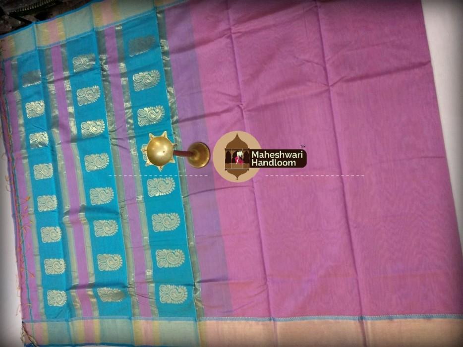 Maheshwari Baby Pink  Buta Pallu Saree