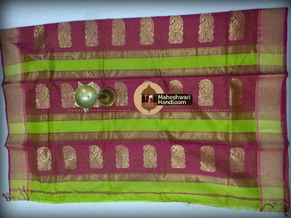 Maheshwari Parrot Green Buta Pallu Saree