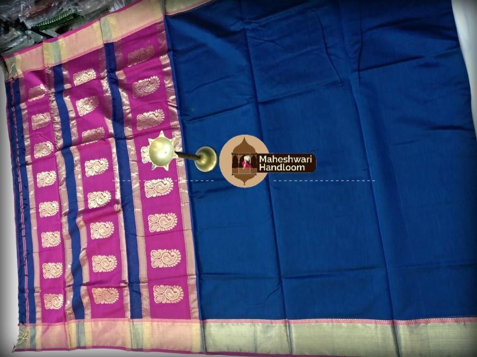 Maheshwari Deep Blue Buta Pallu Saree