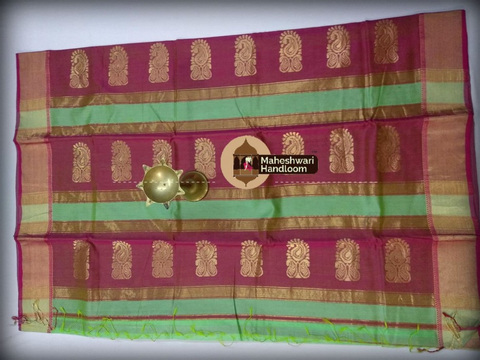 Maheshwari sea Green Buta Pallu Saree
