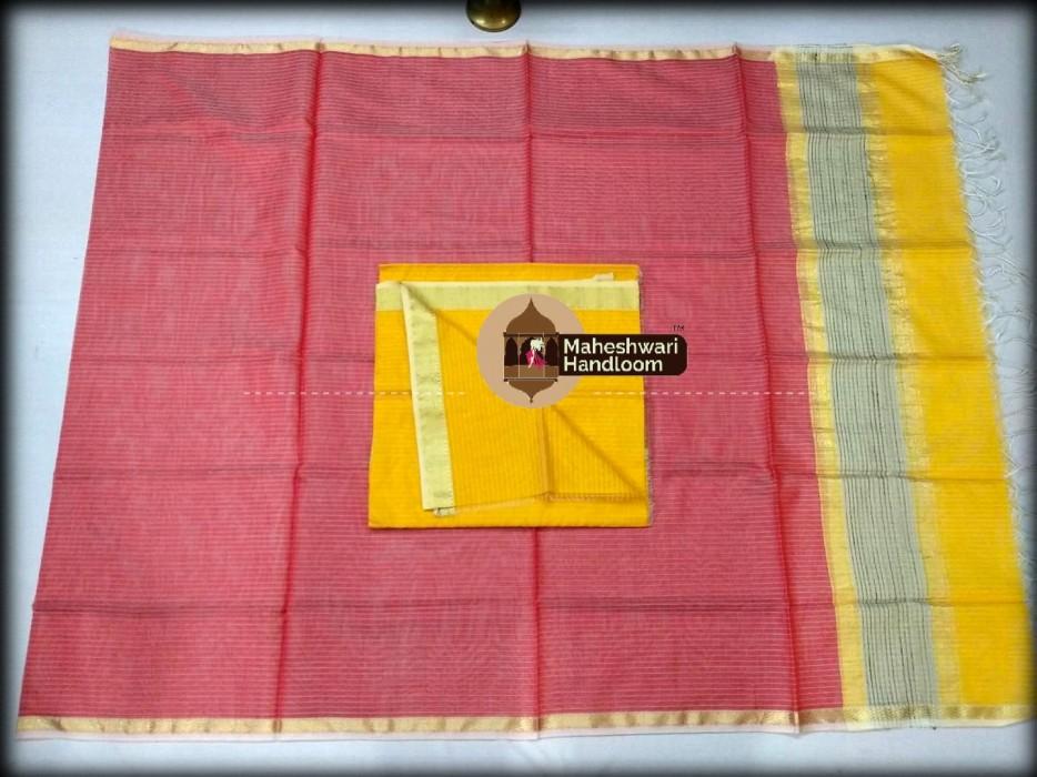 Maheshwari Yellow -Red Top And Dupatta Material