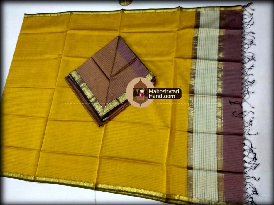 Maheshwari Brown-Yellow  Top And Dupatta Material