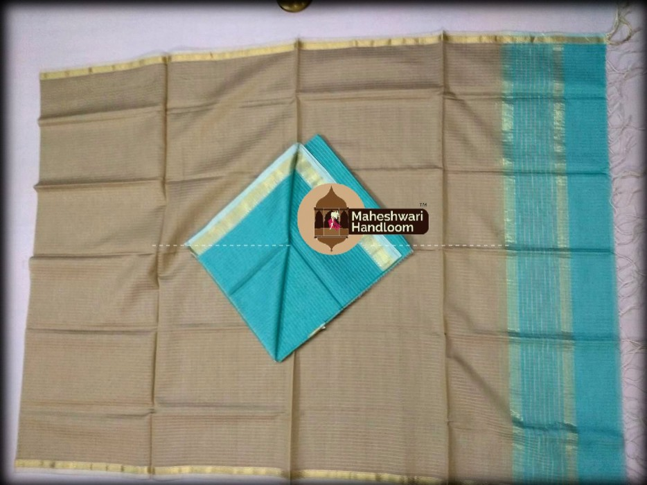 Maheshwari Sea Blue -Tussar Top And Dupatta Material