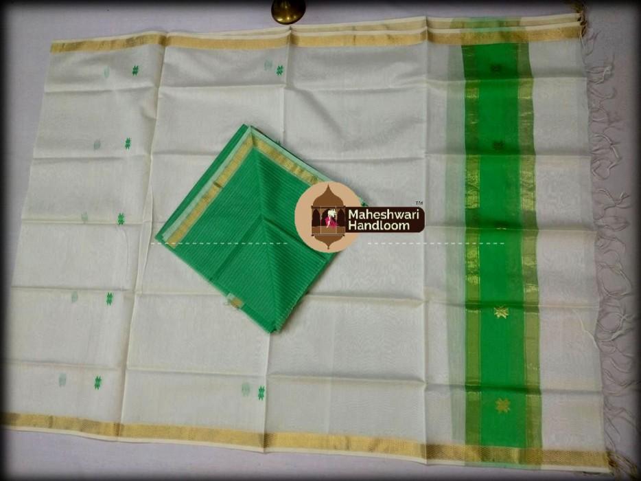 Maheshwari Green-Grey Top And Dupatta Material