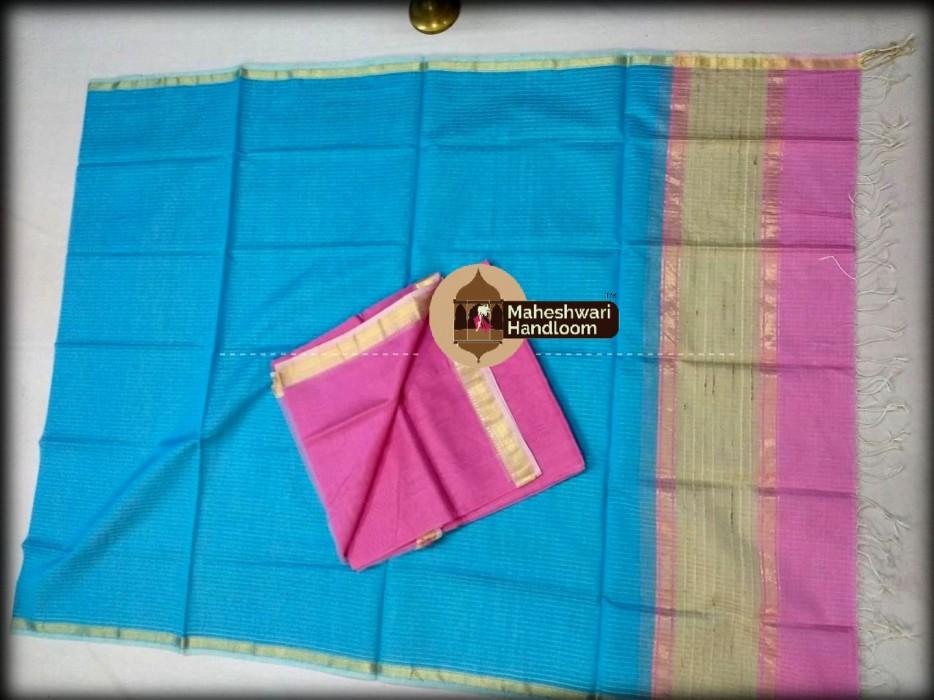 Maheshwari Pink-Firozi Top And Dupatta Material