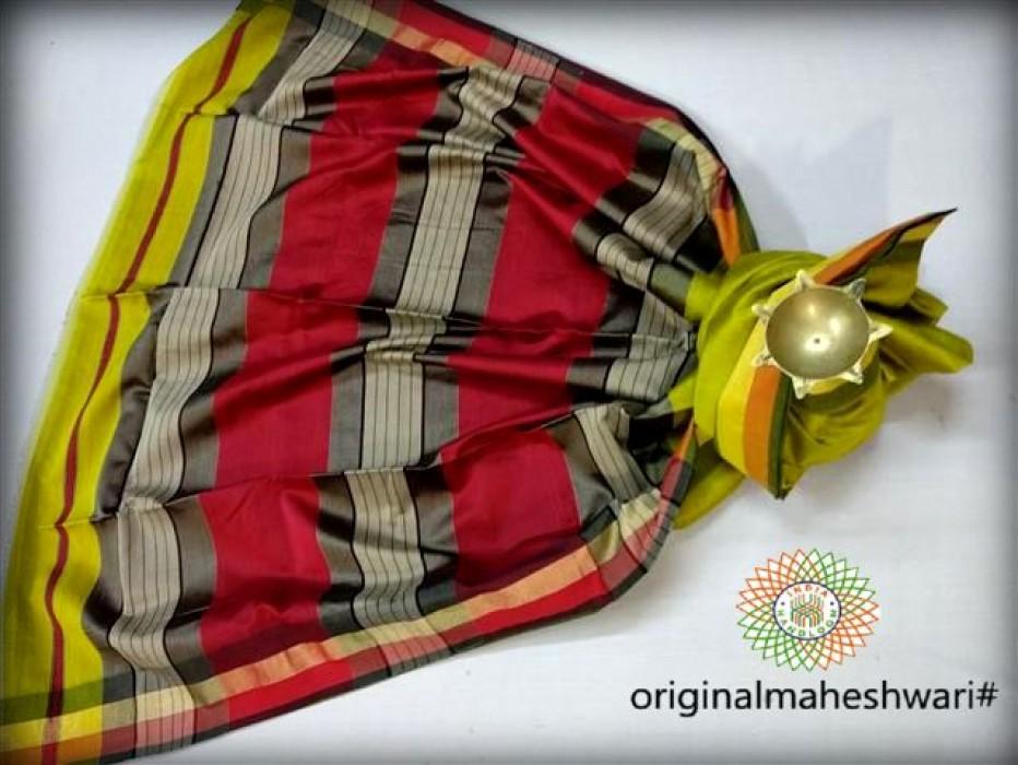 Maheshwari Green   Saree