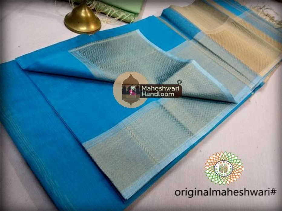 Maheshwari Sea Blue Resham skirt Border saree