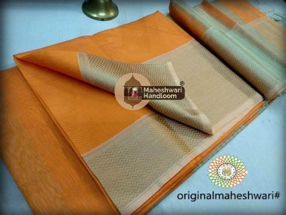 Maheshwari Orange Resham skirt Border saree