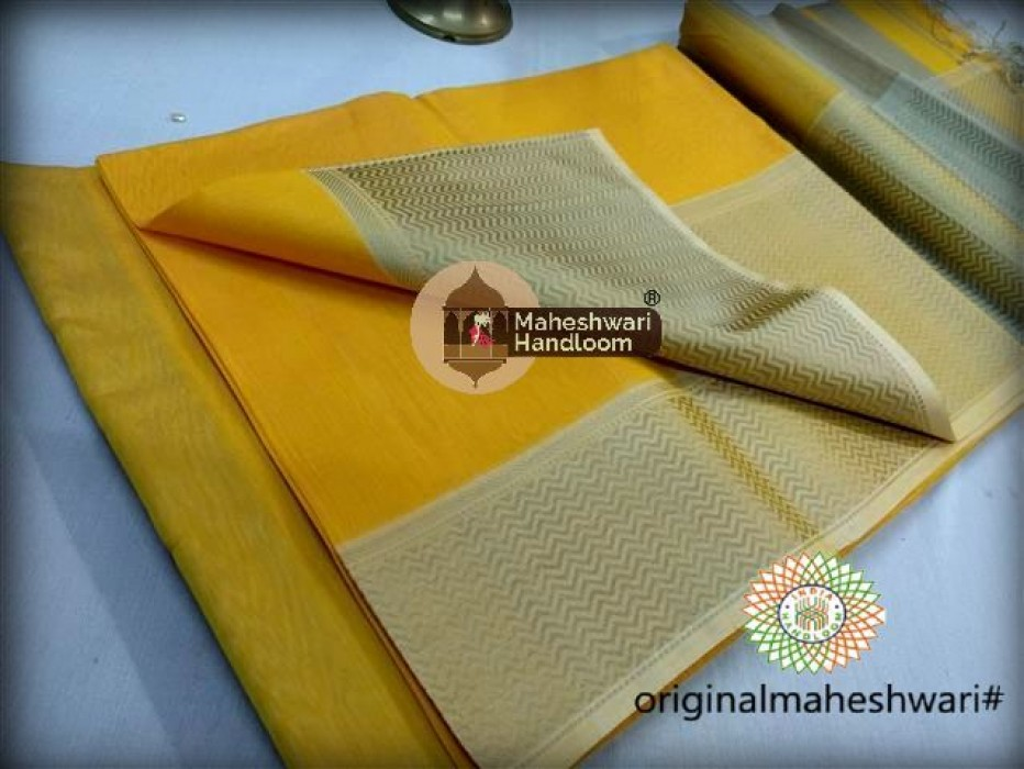Maheshwari  Yellow Resham skirt Border saree