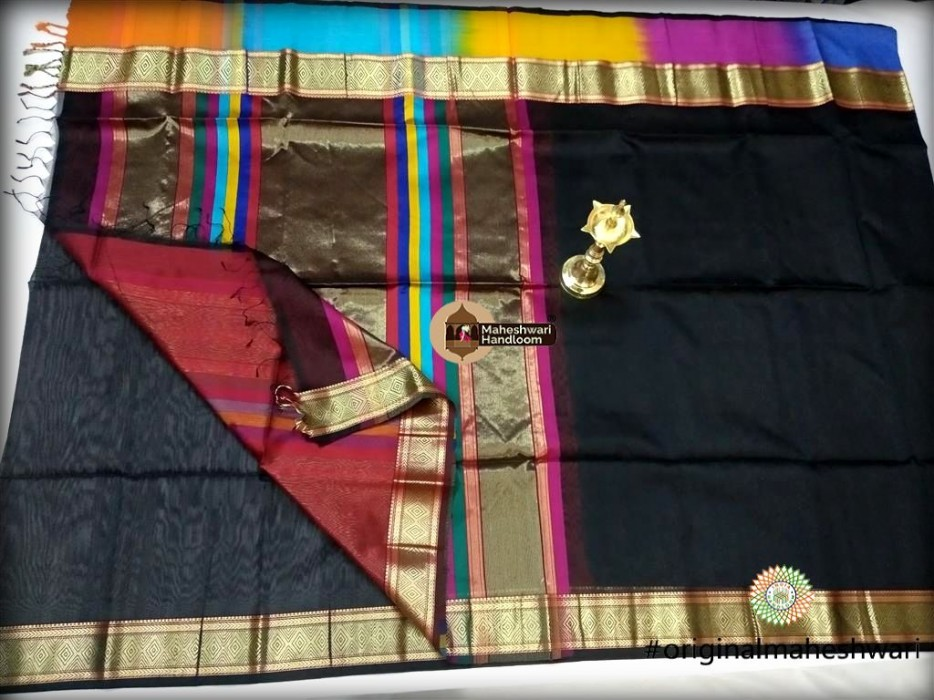 Maheshwari Black Shahded Jari Border Saree