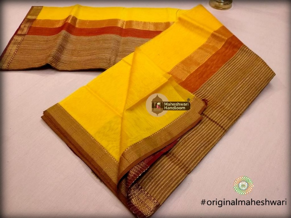 Maheshwari  Lemon Gicha Pallu Saree
