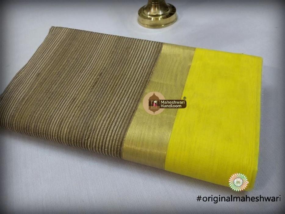 Maheshwari Light Yellow Gicha Pallu Saree
