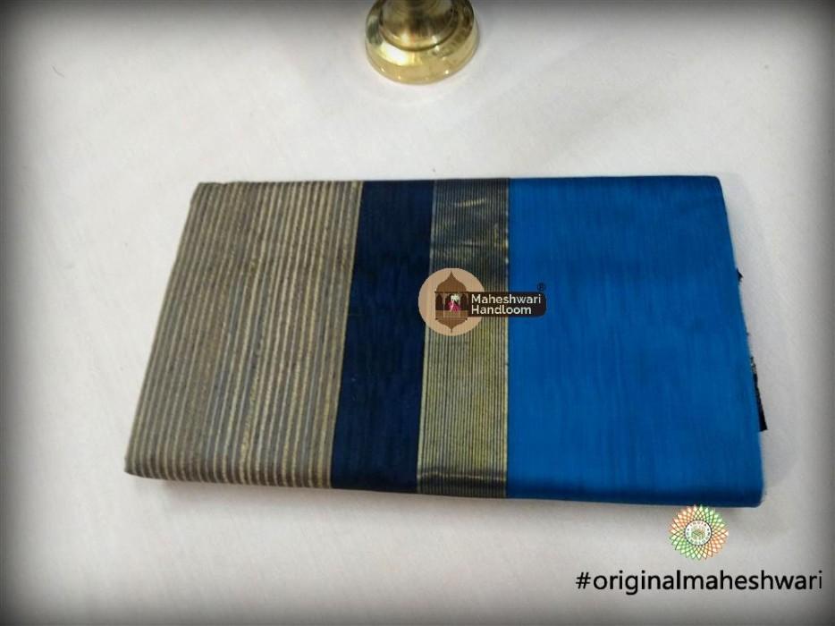 Maheshwari Blue Gicha Pallu Saree