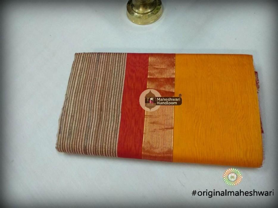 Maheshwari Mustard Gicha Pallu Saree