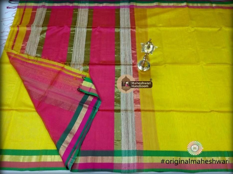 Handwoven Maheshwari Kosa Pallu Yellow  Saree