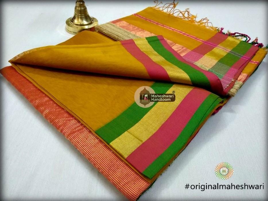 Handwoven Maheshwari Kosa Pallu Mustard Yellow Saree