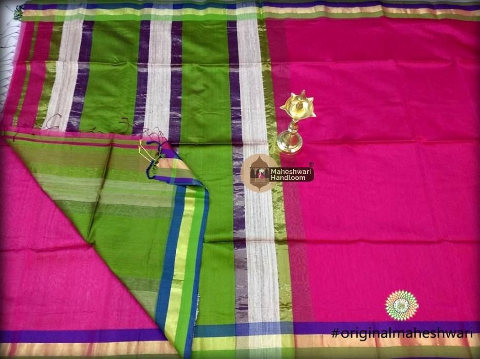 Handwoven Maheshwari Kosa Pallu Pink Saree