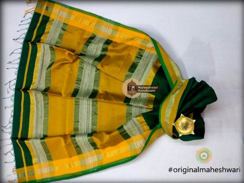 Handwoven Maheshwari Kosa Pallu Rama Green Saree