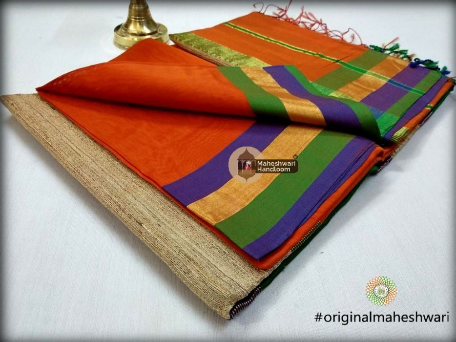 Handwoven Maheshwari Kosa Pallu Orange Saree