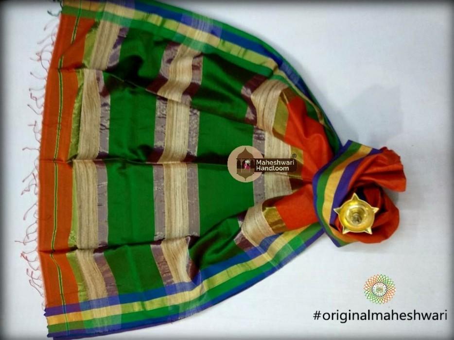 Handwoven Maheshwari Kosa Pallu Orange Saree