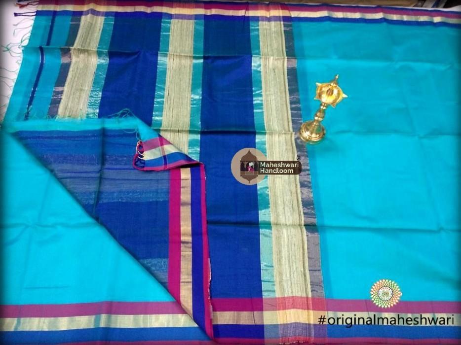 Handwoven Maheshwari Kosa Pallu Firozi Saree