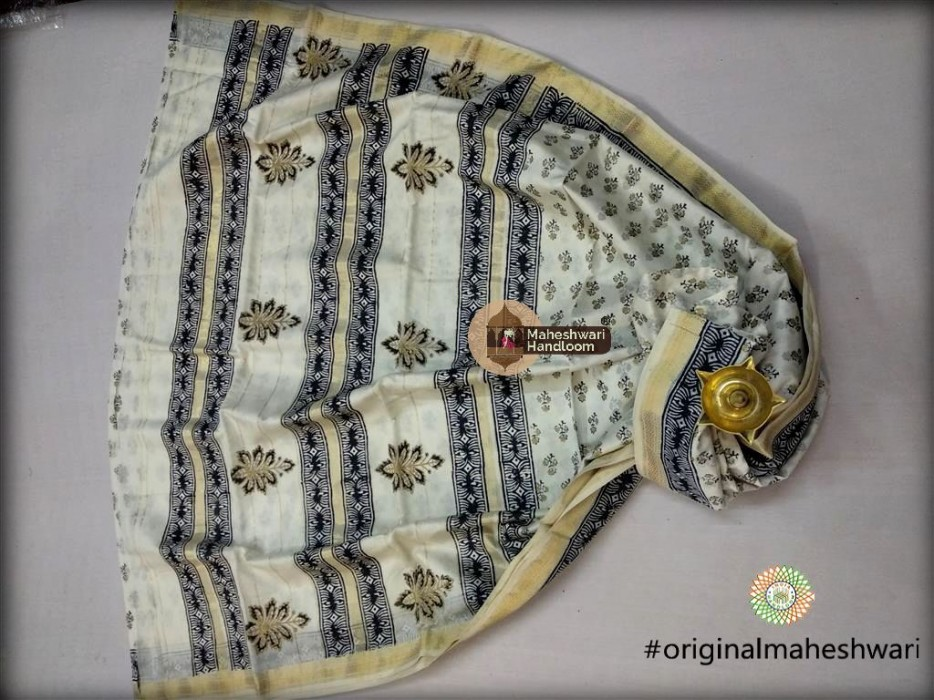 Maheshwari White and Gold  Handblock Print Saree