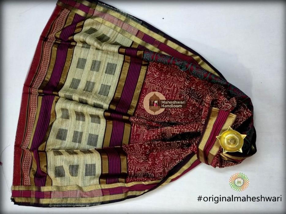 Maheshwari maroon Kosa Pallu Handblock Print Saree