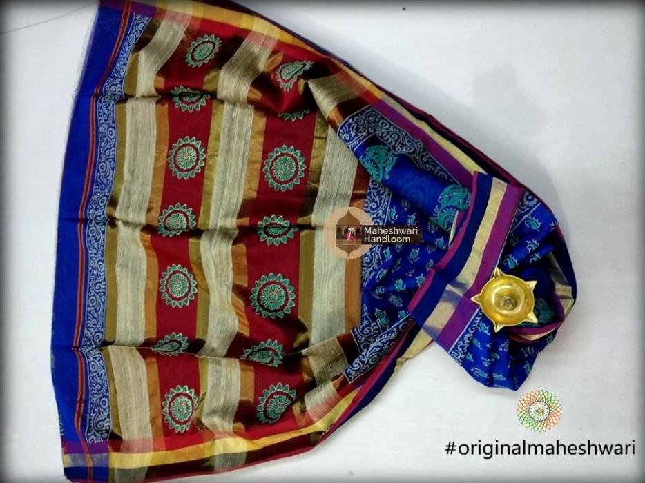 Maheshwari Royal Blue  Handblock Print Saree