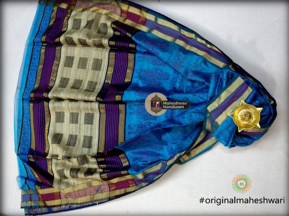 Maheshwari Firozi Kosa pallu  Handblock Print Saree