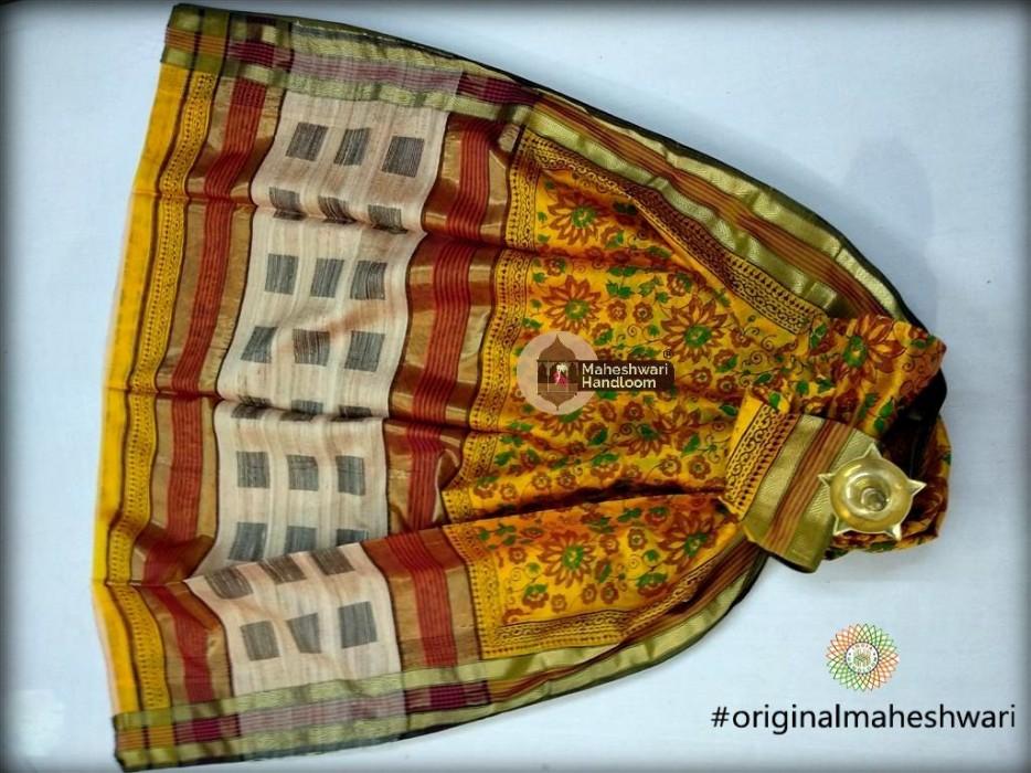 Maheshwari Yellow  Handblock Print Saree