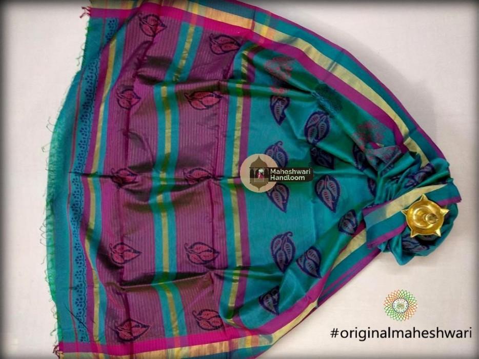 Maheshwari Rama Green  Handblock Print Saree