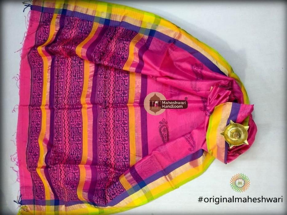 Maheshwari Pink Handblock Print Saree
