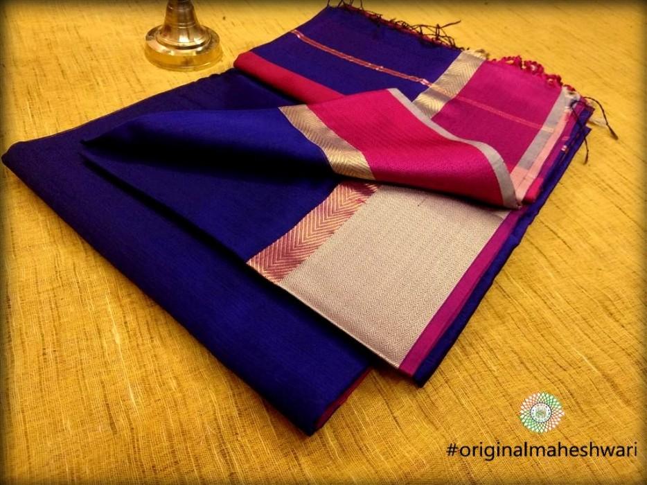 Maheshwari Dark Blue Ganga Jamuna saree