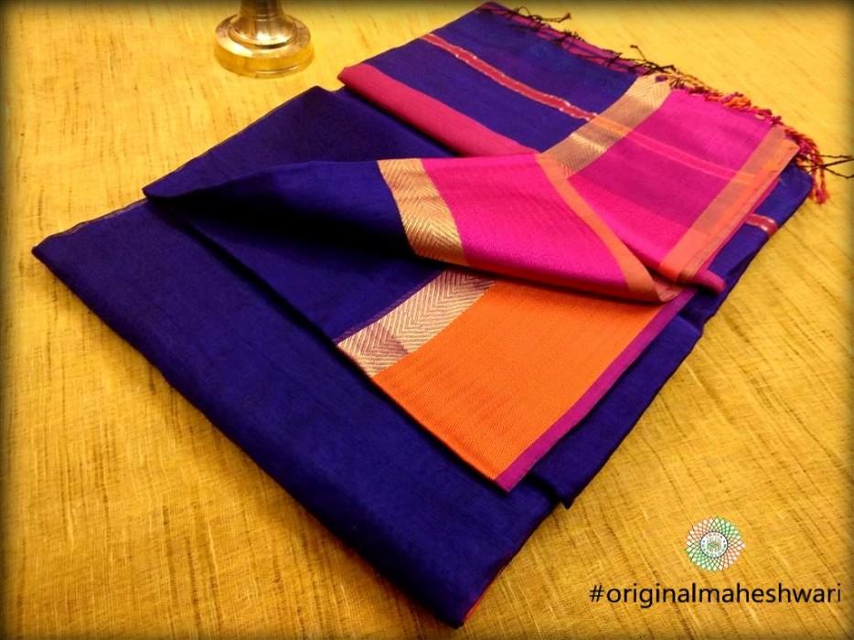 Maheshwari Blue Ganga Jamuna saree