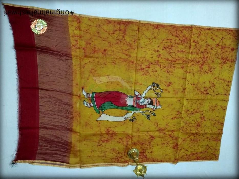 Maheshwari Mustard Yellow Handpainted Batik print Dupatta
