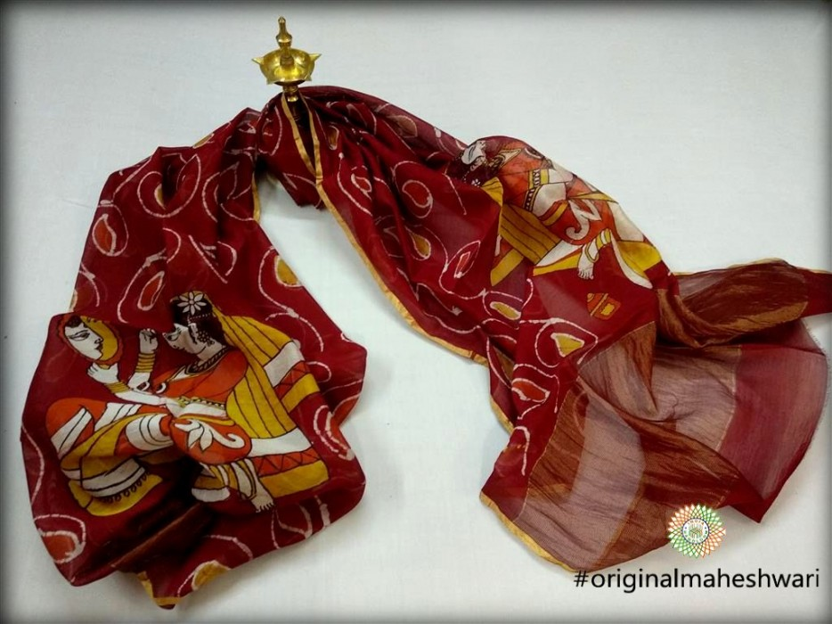Maheshwari Maroon Handpainted Batik print Dupatta