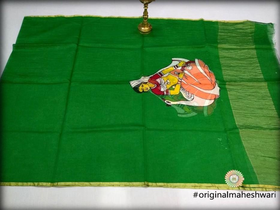 Maheshwari Green  Handpainted  Dupatta